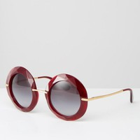 Dolce & Gabbana | Dolce & Gabanna Oversized Round Sunglasses in Red at ASOS
