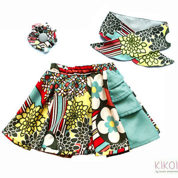 3 in 1 - Girls skirt pattern PDF - summer skirt, hair clip, scarf & kids headband - sizes 6m to 9 years