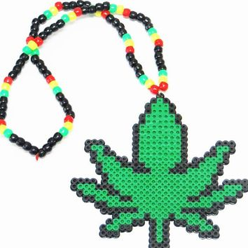 Rasta Weed Kandi Necklace
