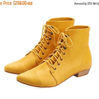 ON SALE Yellow Leather handmade boots / High Polly-Jean lace up yolk flat Boots by Tamar Shalem
