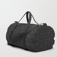 Faded Black and White Cubed Abstract Duffle Bag by Sheila Wenzel