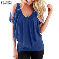 2017 Summer ZANZEA Women Blouses Sexy Off Shoulder V Neck Splicing Solid Chiffon Shirts Fashion Plus Size Tees Tops Blusas