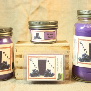 Grape Soda Scent Candles and Wax Melts, Beverage Scent Candle Wax, Highly Scented Candles and Wax Tarts, Fun Candle, Summertime Scent