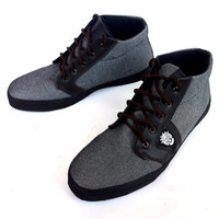 grey Jeans shoes dark brown leather handmade Rangkayo sneakers Preorder men women