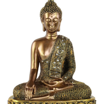 Resin Buddha Figurine with Pointed Ushnisha in Bhumisparsha Mudra on Lotus Base Painted Finish Gold