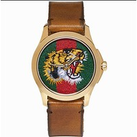 GUCCI Woman Men Fashion Tiger Embroidery Watch Business Watches Wrist Watch