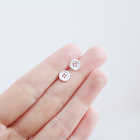 Button Earrings, Silver Button Earrings, Button Stud Earrings, Button Ear Studs, Dainty Earrings, Adorable Earrings, Fun Earrings