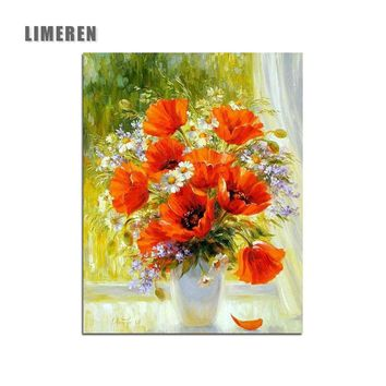Unframed Flowers Picture Adult Paint By Numbers Kits Acrylic Oil Digital Coloring Painting By Numbers For Living Room Wall Art