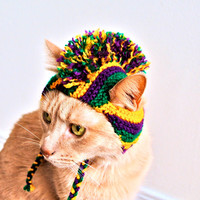 Mardi Gras Mohawk Cat Hat - Hand Knit Cat Costume