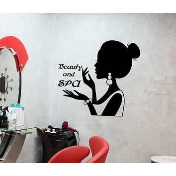 Vinyl Wall Decal Beauty And SPA Logo Signboard Woman Silhouette Stickers (3143ig)