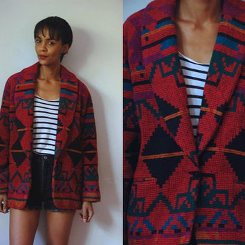 Vtg Wool Tribal Print Toggle Button Red Navy Green Coat