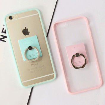 Newest Soft TPU Candy colors Edge Funda Transparent Case For Iphone 5 5s 6 6s / 6s Plus With Metal Ring Stand Phone Cover