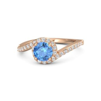 Round Blue Topaz 18K Rose Gold Ring with White Sapphire