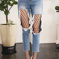 Destroyed Cropped High-Rise Jeans