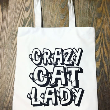 Crazy Cat Lady Tote in Sparkle Black and Canvas