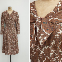 1990s Dress - Vintage 90s Brown Paisley Dress - Nubra Dress