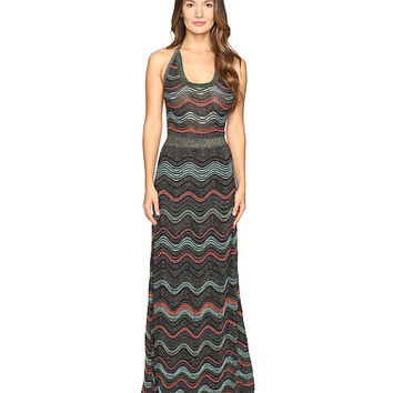 M Missoni Lurex Ripple Halter Neck Maxi Dress