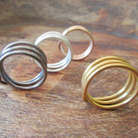 Triple Wire Ring, Wire Wrap Ring, Minimal Men and Women Jewellery, Choose the finish