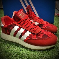 Sale Bape x Adidas INIKI Red Boost Sport Running Shoes