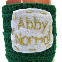 Coffee Mug Cozy Tea Cup Abby Normal green gray crochet cover