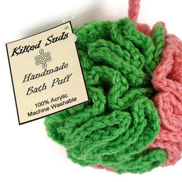 Pink Bath Puff, green bath puff, bath poof, bath pouf, loofah, scrubbie, shower poof, shower pouf, shower puff, crochet pouf, crochet loofah