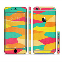 The Vibrant Bright Colored Connect Pattern Six-Piece Sectioned Series Skin Set for the Apple iPhone 6 or 6 Plus