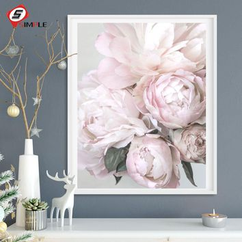 Nordic Flowers Posters Print Blush Peony Wall Pictures For Living Room Modern Scandinavian Pictures Art Canvas Painting Decor