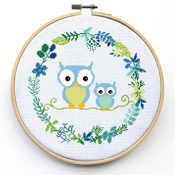 Owl Cross Stitch Kit, Baby Nursery Cross Stitch Kit