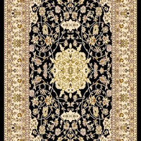 5016 Black 100% Polypropylene Durable Power Loomed Persian Area Rug