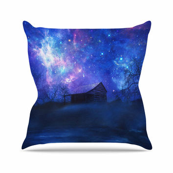 "Viviana Gonzalez ""Beginning"" Blue Galaxy Outdoor Throw Pillow"