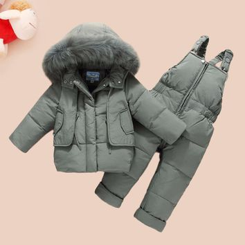 HYLKIDHUOSE 2018 Child WinterClothing Sets Baby Girls Boys Clothes Suits Duck Down Warm Thicken Coats Bib Pants Infant Costume