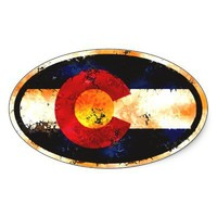 Colorado Grunge Oval Oval Stickers from Zazzle.com