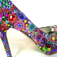 Cinderella's Rainbow... Brilliant colorful, crystal, glass and pearl embellished wedding and party shoes