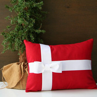 "Red and White Bow Christmas throw pillow cover  / present pillow / 12"" x 16"" / cottage chic / modern holiday decor / whimsical"