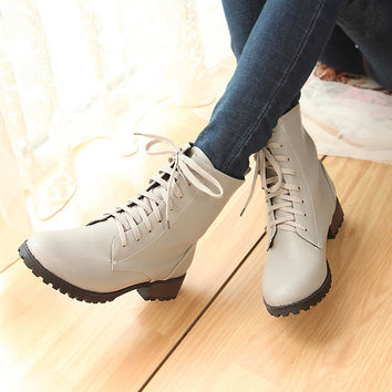 Lace Up Round Toe Women Ankle Boots Shoes Woman 2016 3382
