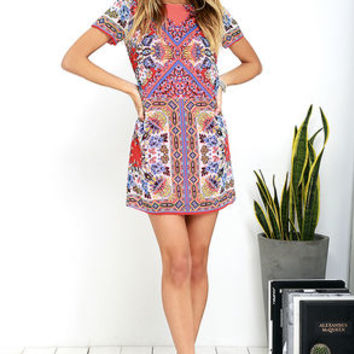 Sangria Coral Pink Tile Print Shift Dress