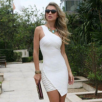 2018 New Spring Bandage Dress Women Celebrity Sleeveless One-Shoulder Sequined Sexy Night Out Party Dress Women Bodycon Vestidos