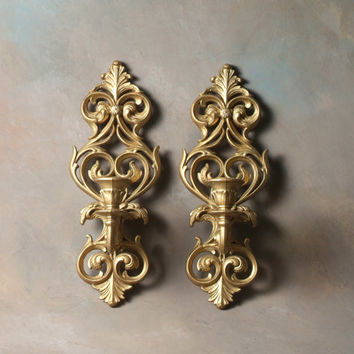 Vintage Burwood Wall Sconce Candle Holder, Gold 1970, collectible pair