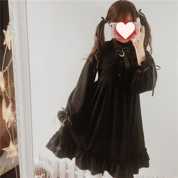 Moonlight Castle Cute Women's Color Black Gothic Lolita Dress Ribbon Bow Thick Chiffon Round Collar Dolly Dress One Piece