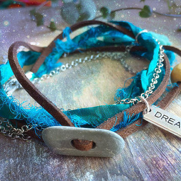 Dream Sari Silk Wrap bracelet. Dragonfly Dream blue bracelet. Multiway 3 in 1 Necklace Bracelet Anklet Boho Beach Jewelry. Freedom jewelry