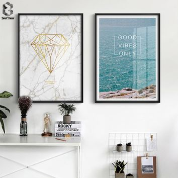 Nordic Wall Art Canvas Painting Seascape Posters And Prints Wall Pictures For Living Room Marble Diamond Decoration Pictures