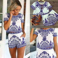 Womens Porcelain Print Cropped Top and Elastic Waist Short