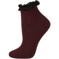 TOPSHOP Wine Lace Trim Ankle Socks