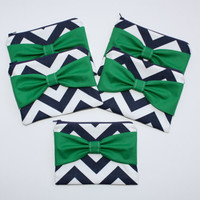 Bridesmaid Gift - Set of (5) Five Cosmetic Clutches / Zipper Pouches - Navy and White Chevron with Green Center Bow