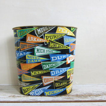20% OFF SALE Vintage Tin Litho College Pennants Waste Basket, Trash Can, Bucket, College Banners Garbage Can
