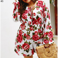 2019 new women's wild fashion floral print long-sleeved jumpsuit #3
