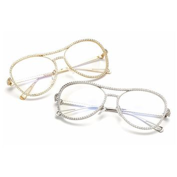New Women Diamond Glasses Frame Eyeglasses Female Eyewear Frame Optical Glasses