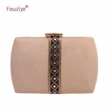 Fawziya Velvet Diamonds Evening Purses For Women Clutch Bags