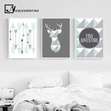 Geometric Deer Arrow Wall Art Canvas Posters Prints Nordic Style Abstract Painting Wall Pictures for Living Room Tribal Decor