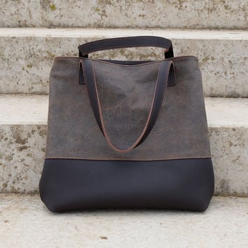 Brown leather bag, Brown bag, Leather bag, Leather handbag, Leather shopper bag, Shoulder bag, Leather tote bag, Zipper tote, Work tote